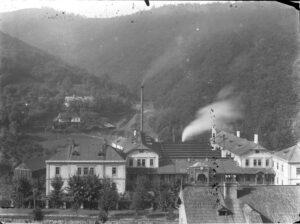 pohľad na fabriku Sandrik okolo roku 1900